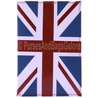 Union Jack Passport Holder Red Leather Fabretti